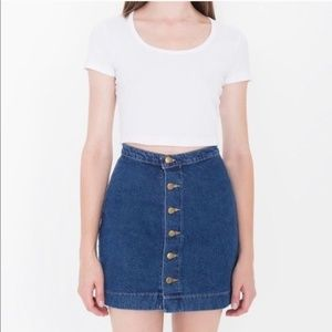 American Apparel Denim Button Front Jean Skirt